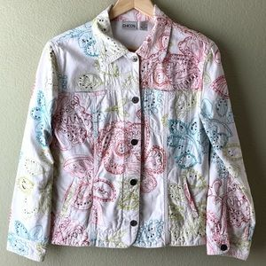 Chico's White Denim Embroidered Beaded Jacket